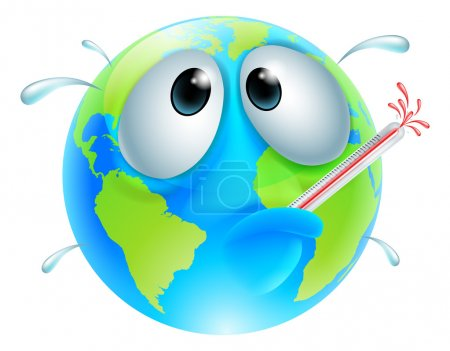 Illustration for Poorly globe concept of a globe with a fever sweating and bursting a thermometer. Could be a concept for global warming - Royalty Free Image