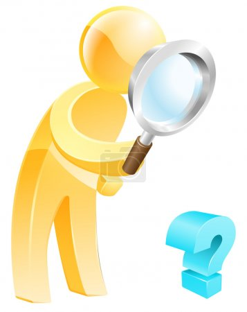 Illustration for Looking for the answer concept of a person with a magnifying glass looking down at a question mark sign - Royalty Free Image