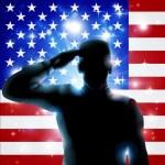 Patriotic soldier or veteran saluting in front of ...
