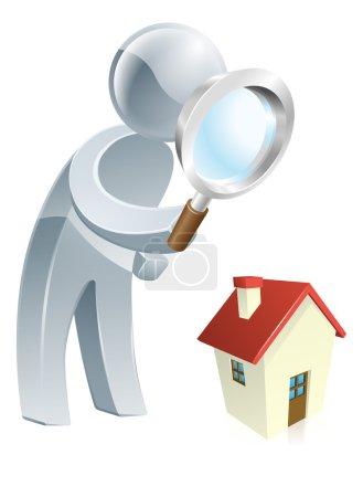 Silver man looking at house