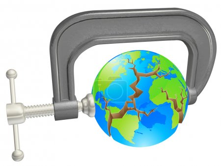 Clamp breaking world globe