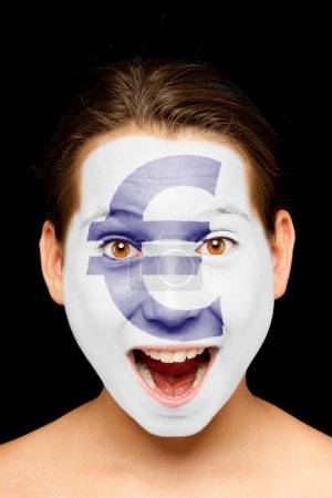 girl with euro symbol painted on her face