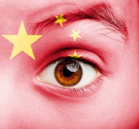 girl with chinese flag painted
