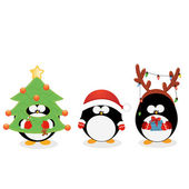 Cute little penguins celebrating christmas with costumes