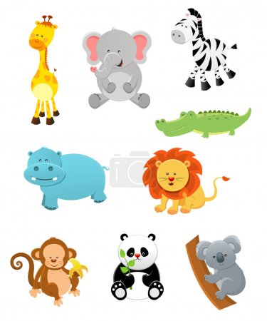 Illustration for Collection of cute safari animals. - Royalty Free Image
