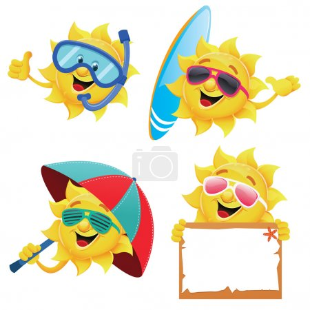 Illustration for Collection of funny sun characters for your summer designs. - Royalty Free Image