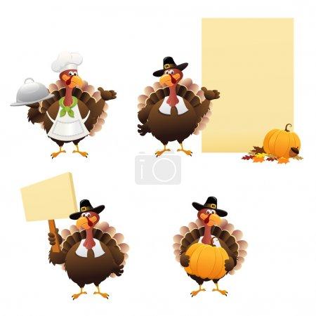 Illustration pour Personnages de Thanksgiving pour vos créations . - image libre de droit