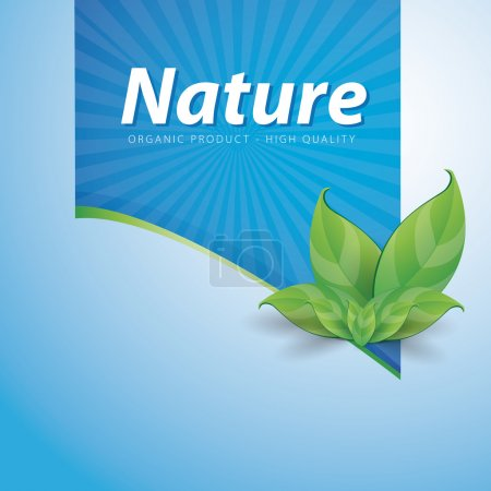 Illustration for Nature ribbon high quality on blue background - Organic product - Royalty Free Image