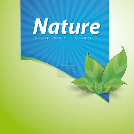 Illustration for Nature ribbon high quality on green background - Organic product - Royalty Free Image