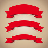 Red ribbon set vector on brown