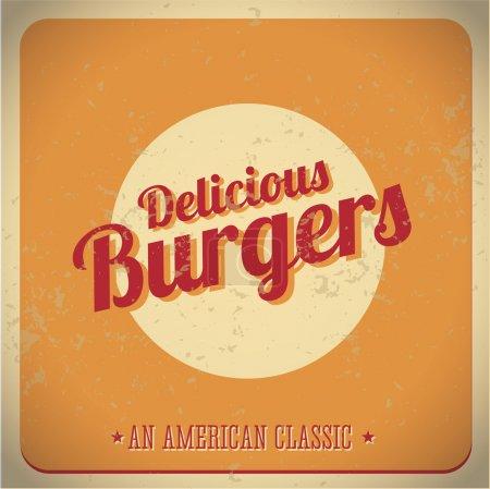 Illustration pour Délicieux burger vintage American Classic vecteur - image libre de droit