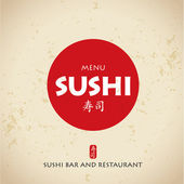 Sushi bar menu vector with japanese letters