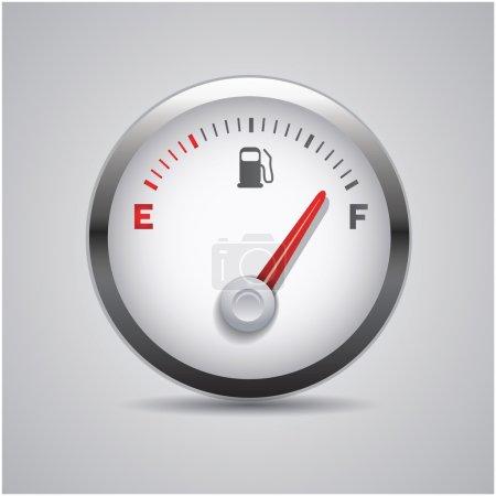 Illustration pour Compteur de carburant isolé acier gris - image libre de droit