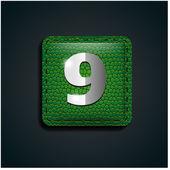 číslo devět na zelené kůže