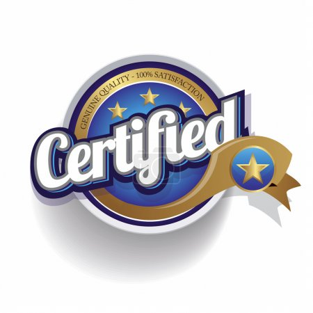 Illustration for Certified icon button vector - Royalty Free Image