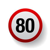 Speed sign - Number eighty button
