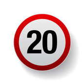 Speed sign - Number twenty button