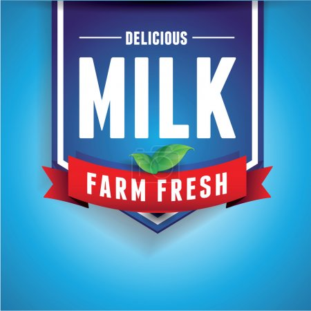 Illustration for Milk label lettering - vector label and ribbon - Royalty Free Image