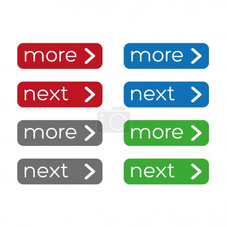 Nore or next button set. Flat design