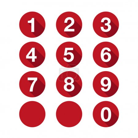 Numbers set red. Vector flat design