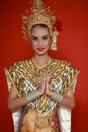 Portrait of Thai young lady in an ancient Thailand...