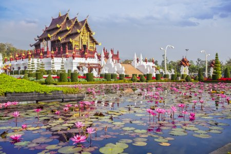 Photo for Chiangmai royal pavilion with lotus flower. - Royalty Free Image
