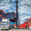Containers in the port of Laem Chabang in Thailand...