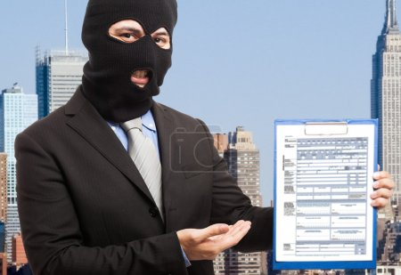 Thief showing a document