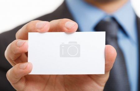 Photo for Hand showing a blank business card - Royalty Free Image