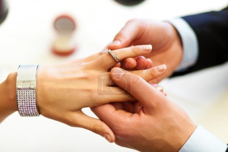 Photo for Man giving an engagement ring to his girlfriend - Royalty Free Image