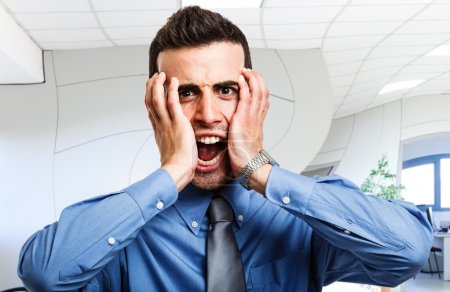 Photo for Portrait of a screaming businessman - Royalty Free Image