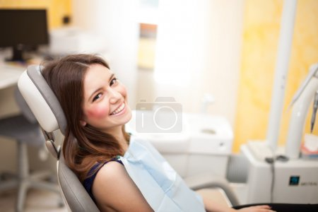 Woman waiting for a dental exam...