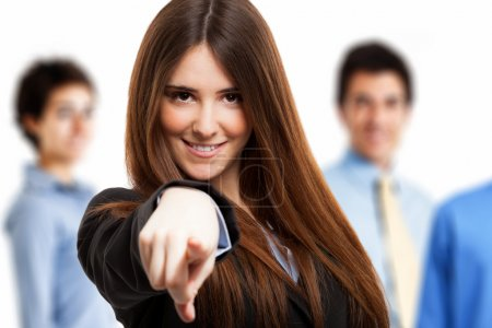 Photo for Smiling woman pointing her finger to you - Royalty Free Image