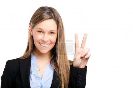 Business woman showing two fingers