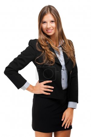 Photo for Beautiful young businesswoman with hand on hip isolated on white - Royalty Free Image
