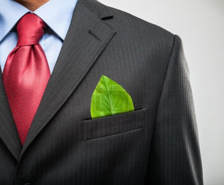 Photo for Ecology concept, businessman keeping a green leaf in his pocket - Royalty Free Image