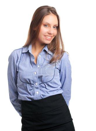 Photo pour Jolie femme d'affaires isolée sur blanc - image libre de droit