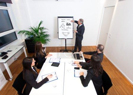 Businessman explaining business concepts