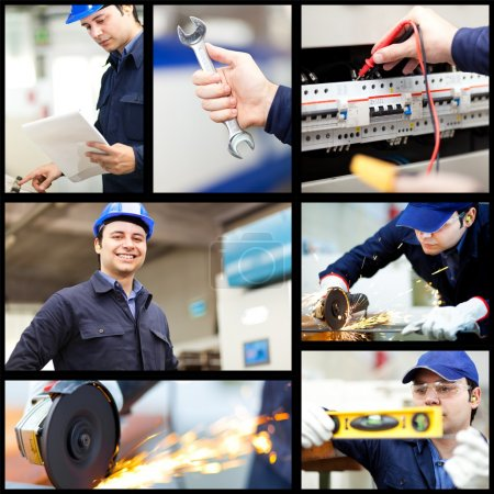 Photo for Collage of industrial workers - Royalty Free Image