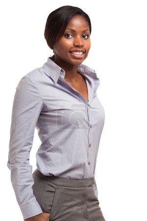 Photo pour Jeune femme d'affaires noire portrait - image libre de droit