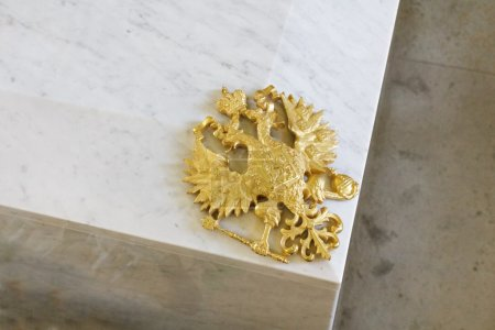 Golden russian double headed eagle on Romanov coffin