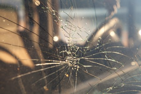Photo for Cracked windshield after a car accident. - Royalty Free Image