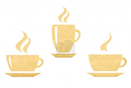 Photo for Hot coffee cup symbol of old vintage paper - Royalty Free Image