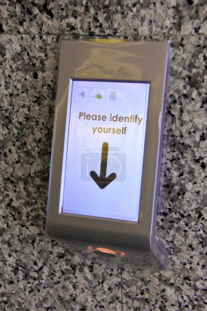 "scanner machine with ""please identify yourself"""