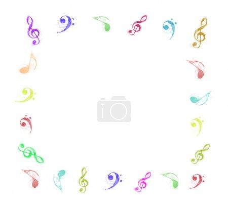 Photo pour Cadre de notes de musique colorée sur fond blanc - image libre de droit