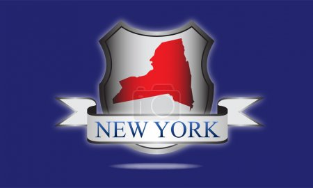 New York state map, flag, and name....