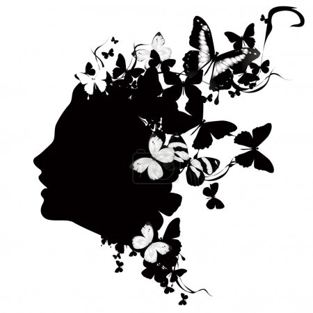 Profile of a girl with butterflies. Black and white vector illustration