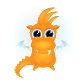 Roztomilý kreslený oranžový drak