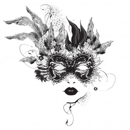 Abstract woman mask with flowers black and white