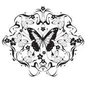 Dekorrahmen mit Blumen und Schmetterlingen